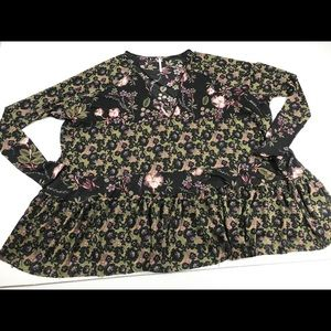 Free People Floral Semi Sheer Oversized tunic top